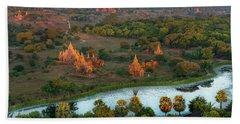Beautiful Sunrise In Bagan Beach Sheet