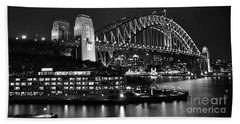 Beautiful Sydney Harbour In Black And White Beach Towel
