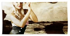 Beautiful Vintage Woman With Steampunk Telescope Beach Towel
