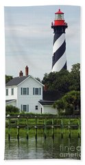 Beautiful Waterfront Lighthouse Beach Towel by D Hackett