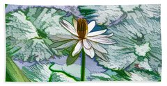Beautiful White Water Lilies Flower Beach Sheet by Lanjee Chee