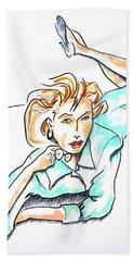 Beautiful Woman, Reclining -- Portrait Of Woman On Floor Beach Sheet
