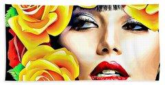 Beautiful Woman Yellow Roses Pop Art Beach Towel