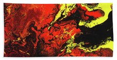 Beauty And The Beast - Powerful Red Yeellow And Black Abstract Art Painting Beach Towel