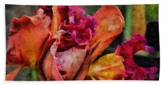 Beach Sheet featuring the mixed media Beauty Of An Orchid by Trish Tritz