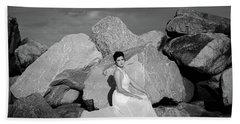 Beauty On The Rocks Beach Sheet by Stefanie Silva