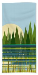 Beach Towel featuring the digital art Beaver Pond - Vertical by Val Arie