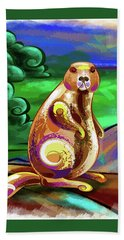 Beaver Pose Beach Towel