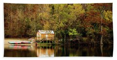 Beach Sheet featuring the photograph Beaver's Bend Canoe Hut by Tamyra Ayles