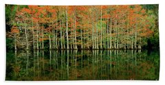 Beach Sheet featuring the photograph Beaver's Bend Cypress All In A Row by Tamyra Ayles