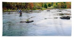 Beach Sheet featuring the photograph Beaver's Bend Fly Fishing by Tamyra Ayles