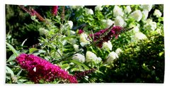 Beach Towel featuring the photograph Beckoning Butterfly Bush by Hanne Lore Koehler