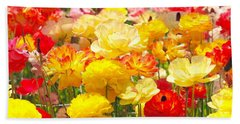 Bed Of Flowers Beach Sheet