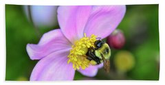 Beach Sheet featuring the photograph Bee And Japanese Anemone by Kerri Farley