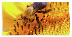 Bee And Sunflower Beach Towel
