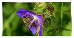 Bee At Work Beach Towel by Ulrich Burkhalter