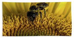 Beach Towel featuring the photograph Bee In A Sunflower by Paul Freidlund