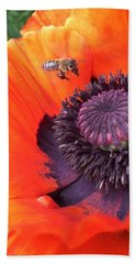 Bee Is Visiting A Poppy Beach Towel