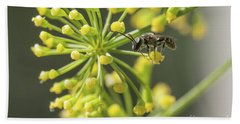 Beach Towel featuring the photograph Bee by Jivko Nakev