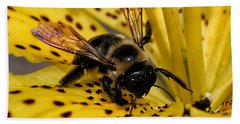Bee On A Lily Beach Towel