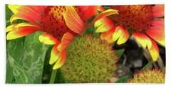 Bee On Colorful Flowers Beach Towel
