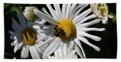 Bee On Flower 1 Beach Towel by Jason Nicholas
