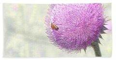 Bee On Giant Thistle Beach Towel