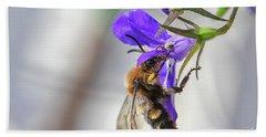 Bee On Purple Flower Beach Towel