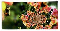 Bee On Snapdragon Flower Abstract Beach Towel by Smilin Eyes  Treasures