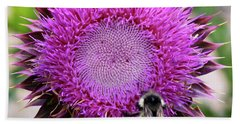 Beach Towel featuring the photograph Bee On Thistle by David Chandler
