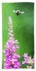 Bee Over Flowers Beach Sheet