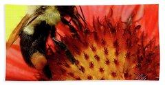 Bee Red Flower Beach Towel