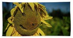 Bee Smiling Sunflowers Beach Towel