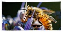 Bee Visits Rosemary  Beach Towel