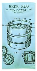 Beer Keg 1994 Patent - Blue Beach Towel by Scott D Van Osdol