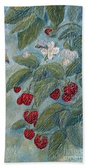Beach Towel featuring the painting Bees Berries And Blooms by Phyllis Howard