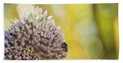 Bees On Garlic Blossom Beach Sheet