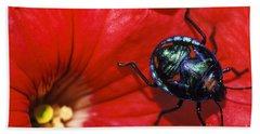 Beetle On A Hibiscus Flower. Beach Towel