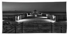 Beach Towel featuring the photograph Before Dawn Folly Beach Pier Charleston Sc Art by Reid Callaway