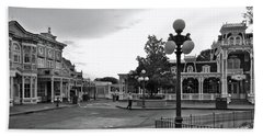 Before The Gates Open Black And White Magic Kingdom Walt Disney World Mp Beach Towel