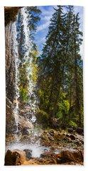Behind Spouting Rock Waterfall - Hanging Lake - Glenwood Canyon Colorado Beach Sheet by Brian Harig