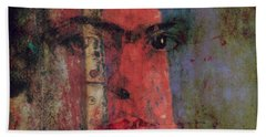 Beach Towel featuring the painting Behind The Painted Smile by Paul Lovering