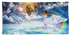 Beach Towel featuring the digital art Behold, He Is Coming  by Dolores Develde