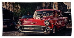 Beach Towel featuring the photograph Bel Air Hotrod by Joel Witmeyer