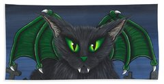Beach Towel featuring the painting Bela Vampire Cat by Carrie Hawks