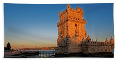 Belem Tower And The Moon Beach Towel