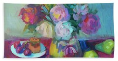 Beach Towel featuring the painting Belgian Creamer And Sugar by Diane McClary
