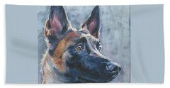 Belgian Malinois In Winter Beach Towel