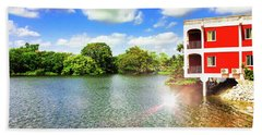 Belize River House Reflection Beach Towel