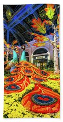 Bellagio Conservatory Fall Peacock Display Side View  Beach Towel